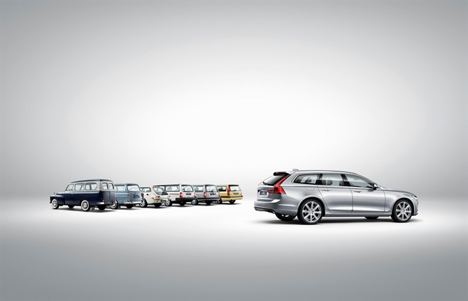 Volvo V90 and a historical line-up of Volvo estate models